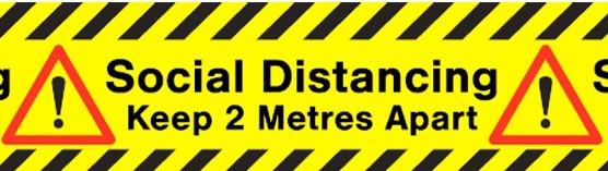Social Distancing Printed Floor Marking Tape (1 x 33 metre roll)